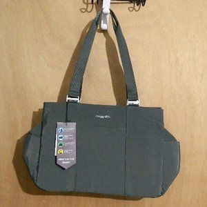 BAGGALLINI LARGE EAST WEST TOTE CHARCOAL NEW